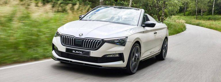 SKODA Slavia concept car driving on test track