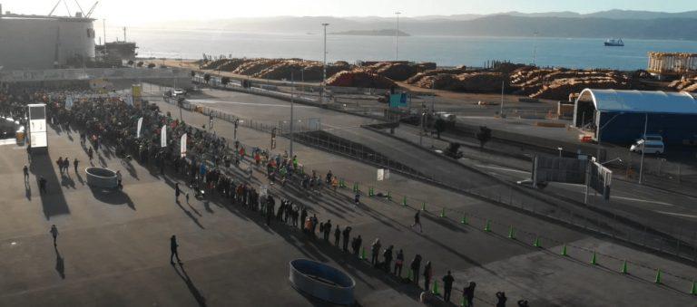 Wellington waterfront & stadium during marathon starting block