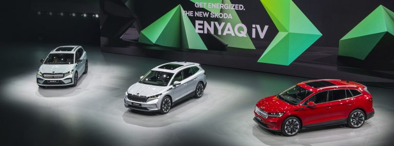 SKODA ENYAQ iV announcement stage with 3 vehicles