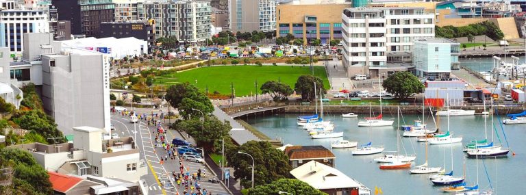 Lovely aerial shot of the Wellington waterfront during the Wellington marathon