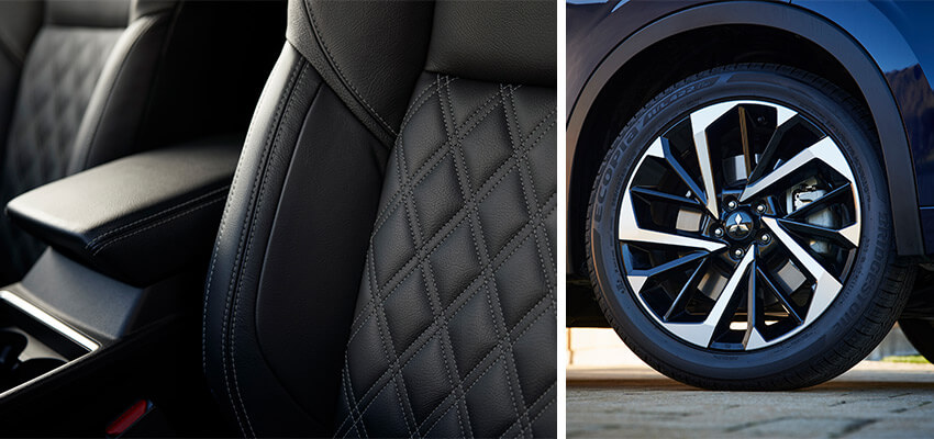 leather seat & alloy wheel details of the next generation outlander
